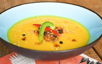 Manic Mango Soep met kokosgarnalen